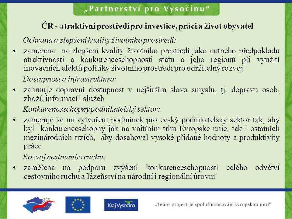 ČR - atraktivní prostředí pro investice, práci a život obyvatel Ochrana a zlepšení kvality životního prostředí: zaměřena na zlepšení kvality životního prostředí jako nutného předpokladu atraktivnosti a konkurenceschopnosti státu a jeho regionů při využití inovačních efektů politiky životního prostředí pro udržitelný rozvoj Dostupnost a infrastruktura: zahrnuje dopravní dostupnost v nejširším slova smyslu, tj.