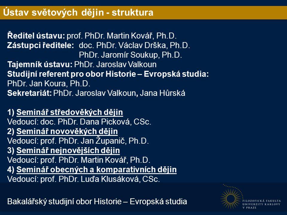 Ústav světových dějin - struktura Ředitel ústavu: prof.