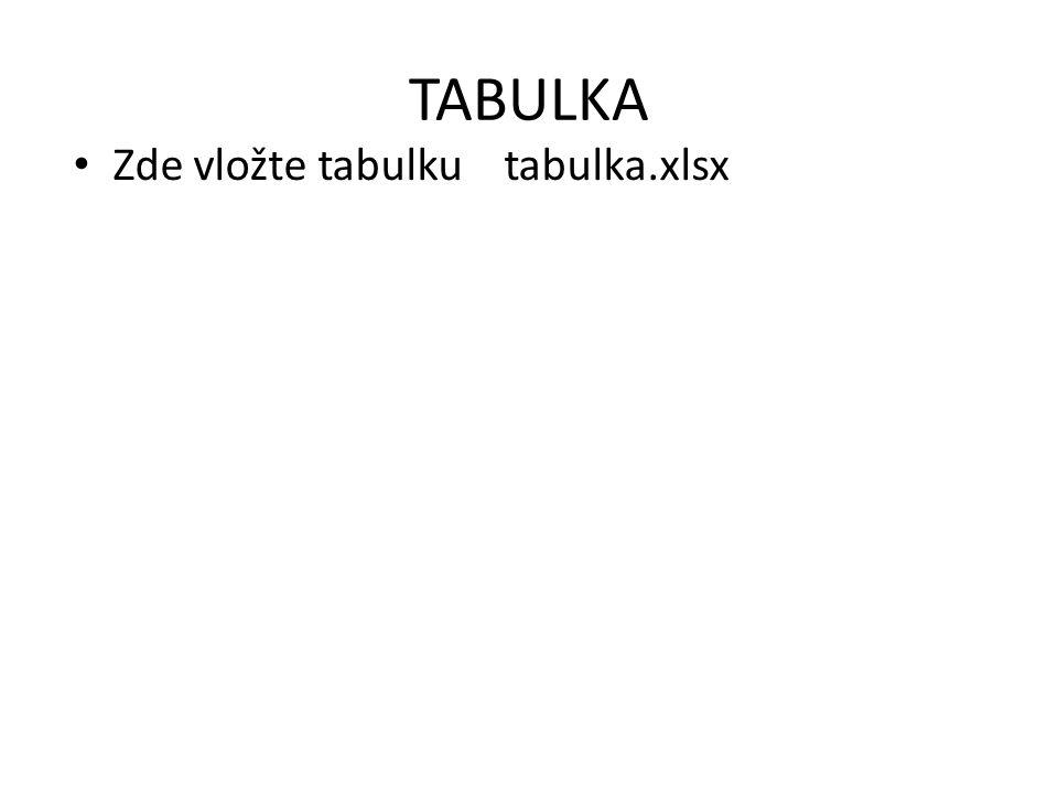 TABULKA Zde vložte tabulku tabulka.xlsx