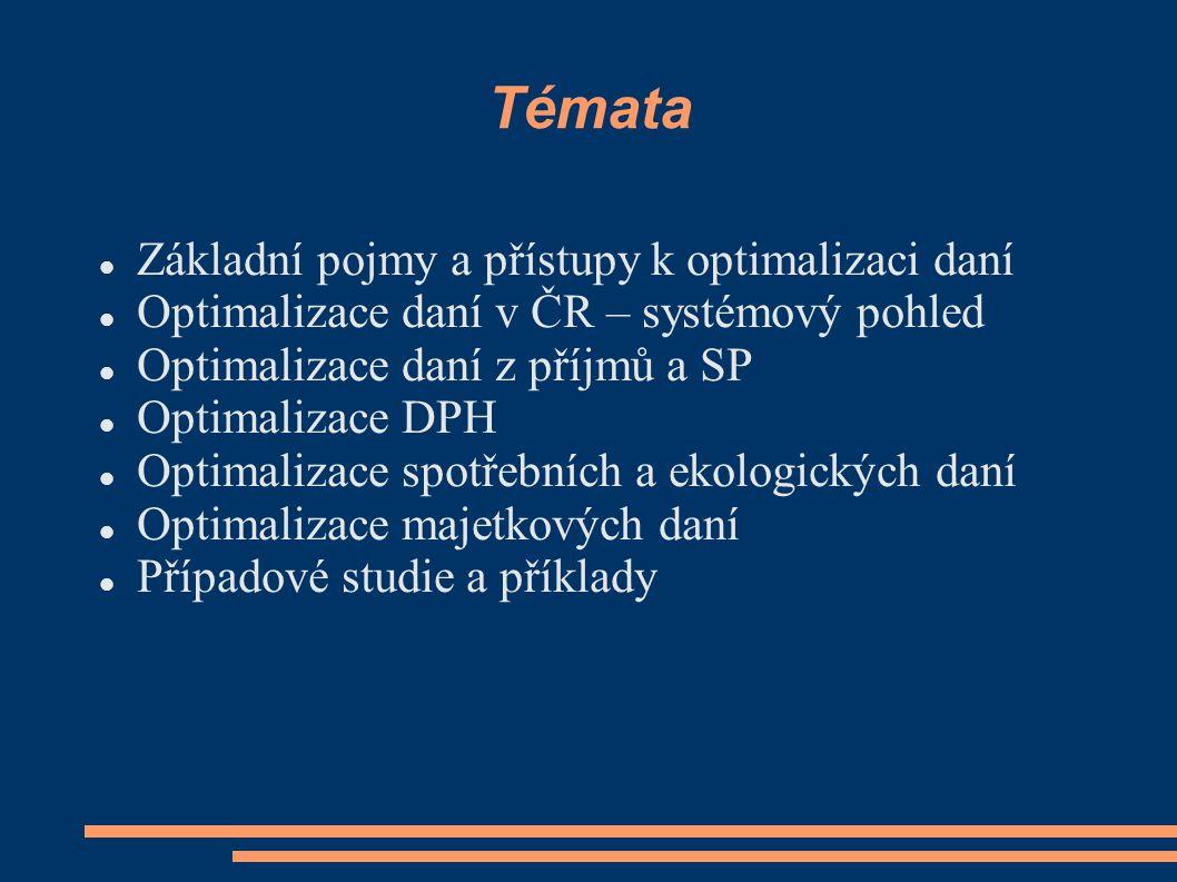 Daňové plánování Tuzemská optimalizace  V rámci DS ČR  Dostupné pro všechny tuzemské podniky Globální optimalizace  Vyhledávání optimální daňové lokality  Po některé podniky nedostupné nebo neefektivní