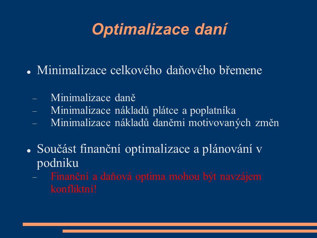 Optimalizace daní Minimalizace celkového daňového břemene  Minimalizace daně  Minimalizace nákladů plátce a poplatníka  Minimalizace nákladů daněmi motivovaných změn Součást finanční optimalizace a plánování v podniku  Finanční a daňová optima mohou být navzájem konfliktní!