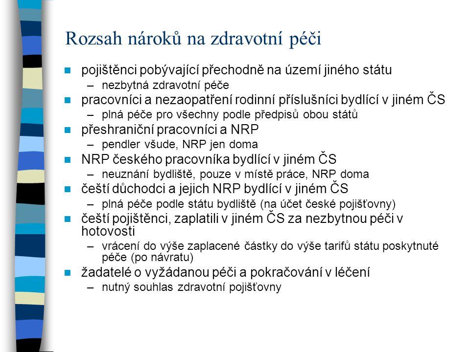 Rozsah nároků na zdravotní péči pojištěnci pobývající přechodně na území jiného státu –nezbytná zdravotní péče pracovníci a nezaopatření rodinní příslušníci bydlící v jiném ČS –plná péče pro všechny podle předpisů obou států přeshraniční pracovníci a NRP –pendler všude, NRP jen doma NRP českého pracovníka bydlící v jiném ČS –neuznání bydliště, pouze v místě práce, NRP doma čeští důchodci a jejich NRP bydlící v jiném ČS –plná péče podle státu bydliště (na účet české pojišťovny) čeští pojištěnci, zaplatili v jiném ČS za nezbytnou péči v hotovosti –vrácení do výše zaplacené částky do výše tarifů státu poskytnuté péče (po návratu) žadatelé o vyžádanou péči a pokračování v léčení –nutný souhlas zdravotní pojišťovny