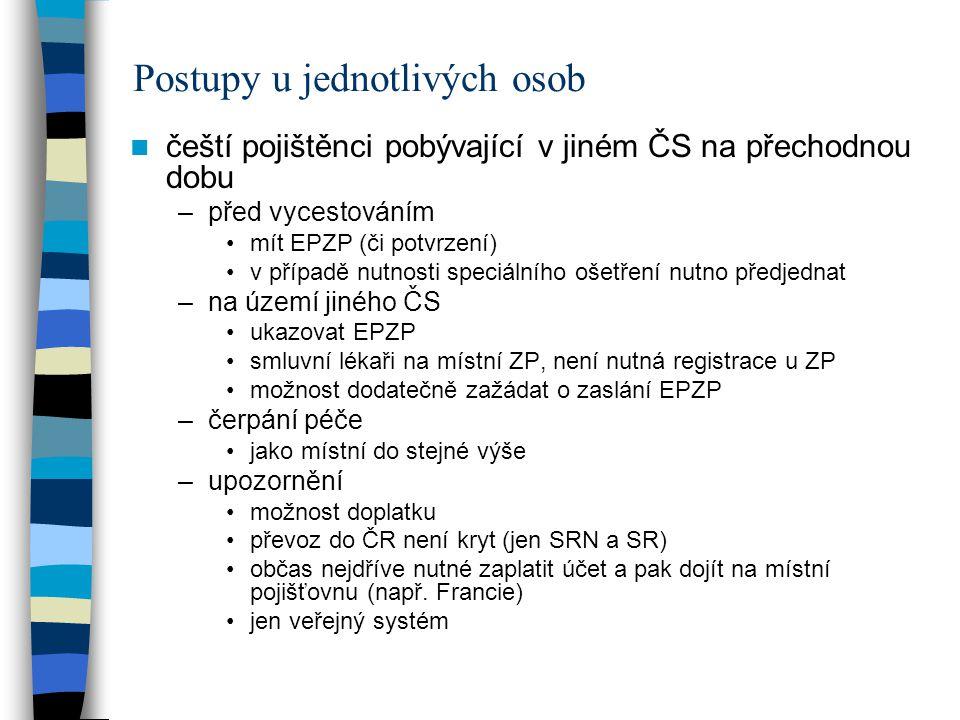 Postupy u jednotlivých osob čeští pojištěnci pobývající v jiném ČS na přechodnou dobu –před vycestováním mít EPZP (či potvrzení) v případě nutnosti speciálního ošetření nutno předjednat –na území jiného ČS ukazovat EPZP smluvní lékaři na místní ZP, není nutná registrace u ZP možnost dodatečně zažádat o zaslání EPZP –čerpání péče jako místní do stejné výše –upozornění možnost doplatku převoz do ČR není kryt (jen SRN a SR) občas nejdříve nutné zaplatit účet a pak dojít na místní pojišťovnu (např.