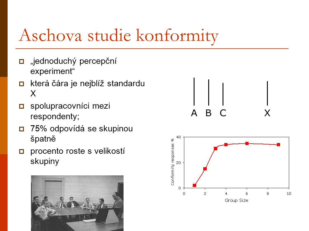"""Aschova studie konformity  """"jednoduchý percepční experiment""""  která čára je nejblíž standardu X  spolupracovníci mezi respondenty;  75% odpovídá s"""