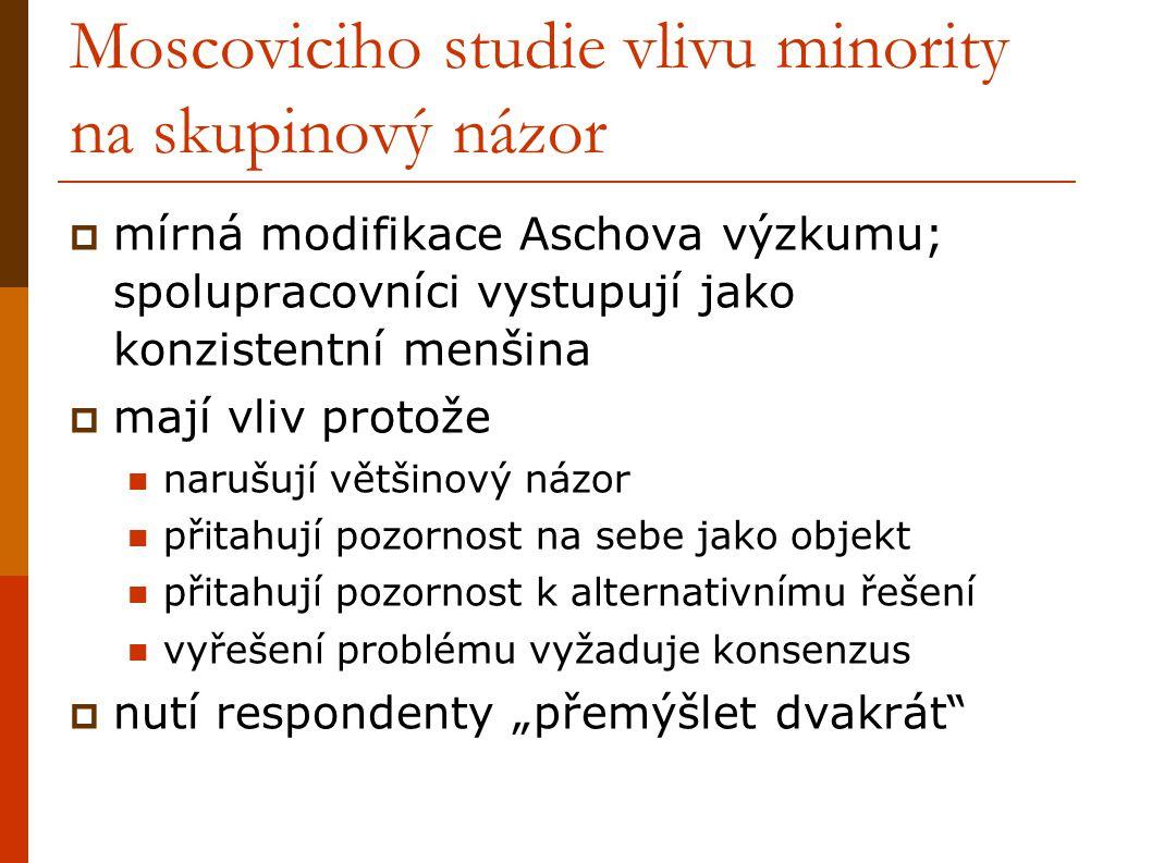 Moscoviciho studie vlivu minority na skupinový názor  mírná modifikace Aschova výzkumu; spolupracovníci vystupují jako konzistentní menšina  mají vl
