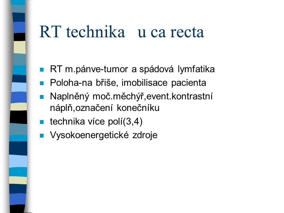 RT technika u ca recta n RT m.pánve-tumor a spádová lymfatika n Poloha-na břiše, imobilisace pacienta n Naplněný moč.měchýř,event.kontrastní náplň,ozn