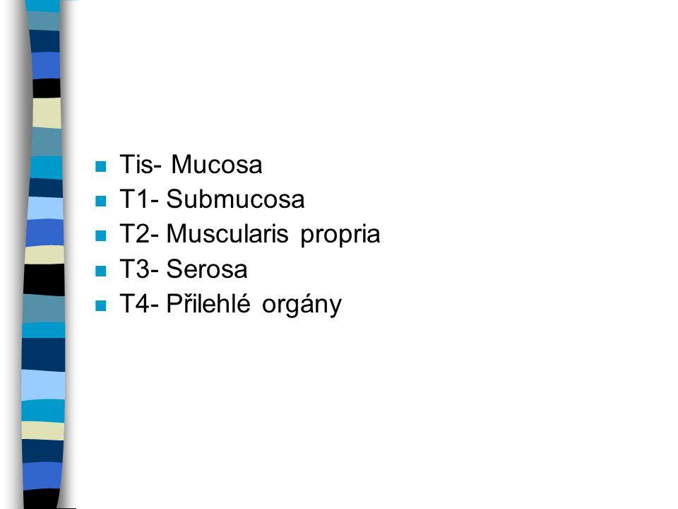 n Tis- Mucosa n T1- Submucosa n T2- Muscularis propria n T3- Serosa n T4- Přilehlé orgány
