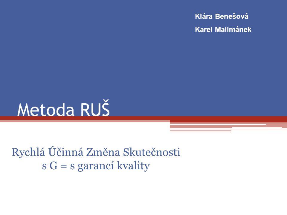 Metoda RUŠ Rychlá Účinná Změna Skutečnosti s G = s garancí kvality Klára Benešová Karel Malimánek