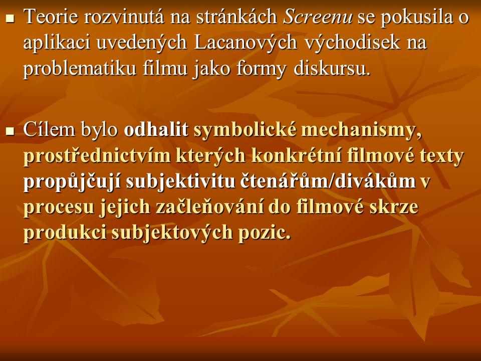 Teorie rozvinutá na stránkách Screenu se pokusila o aplikaci uvedených Lacanových východisek na problematiku filmu jako formy diskursu. Teorie rozvinu