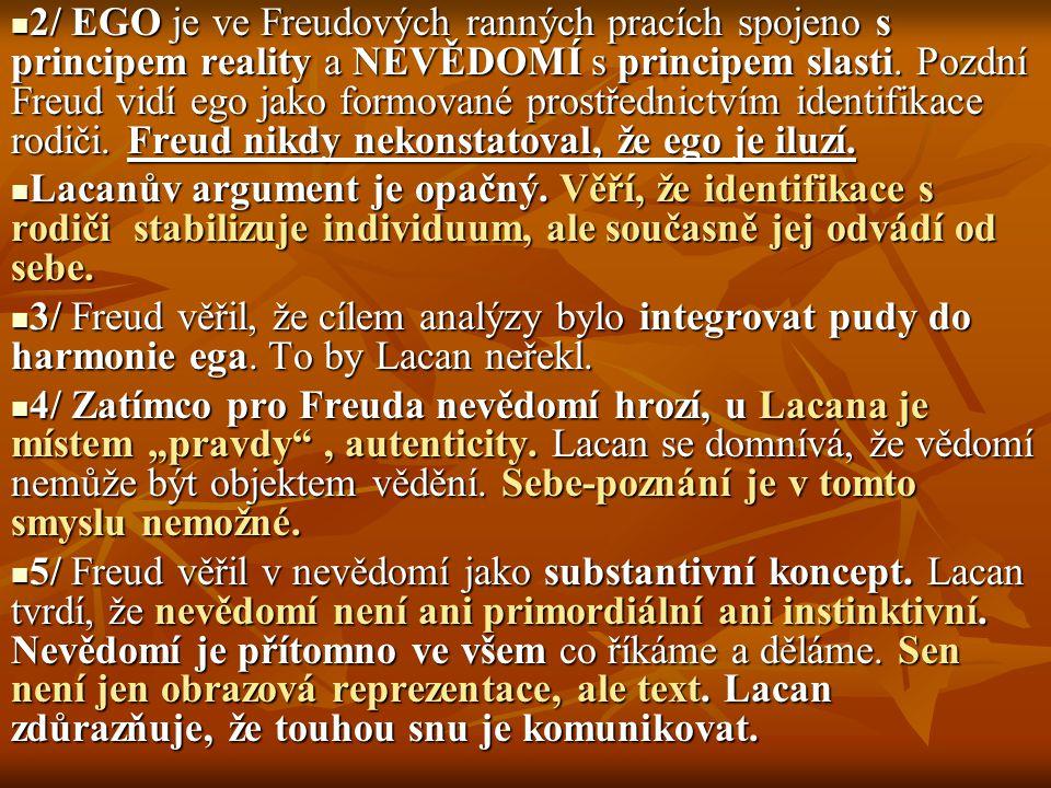 2/ EGO je ve Freudových ranných pracích spojeno s principem reality a NEVĚDOMÍ s principem slasti. Pozdní Freud vidí ego jako formované prostřednictví