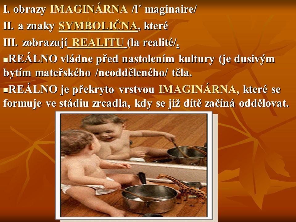 I. obrazy IMAGINÁRNA /l´ maginaire/ II. a znaky SYMBOLIČNA, které III. zobrazují REALITU (la realité/. REÁLNO vládne před nastolením kultury (je dusiv