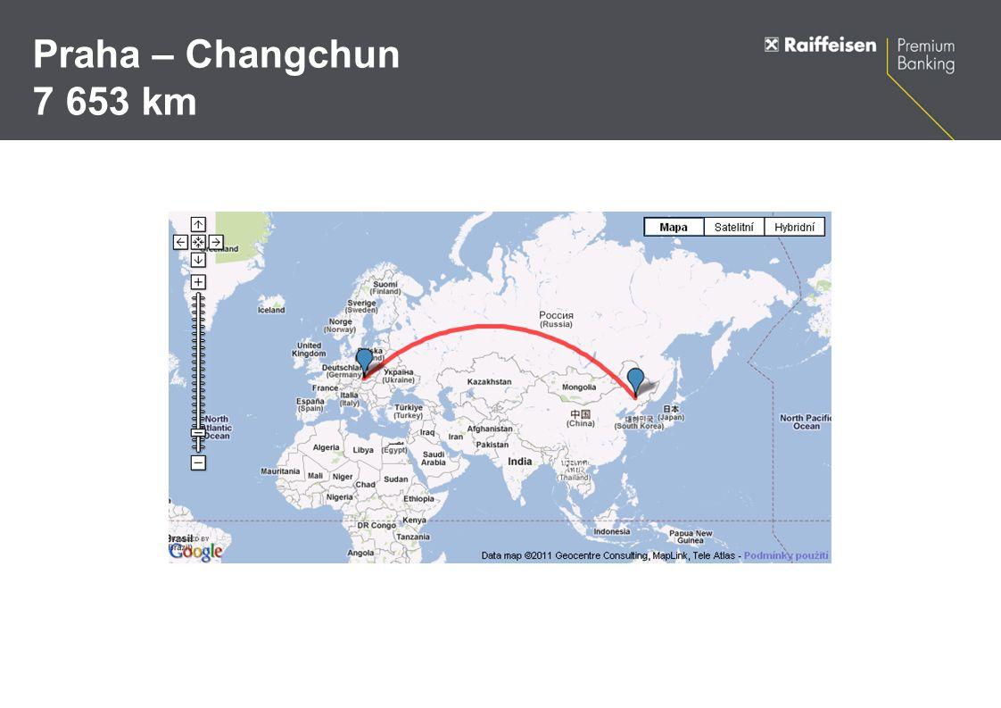 Praha – Changchun 7 653 km