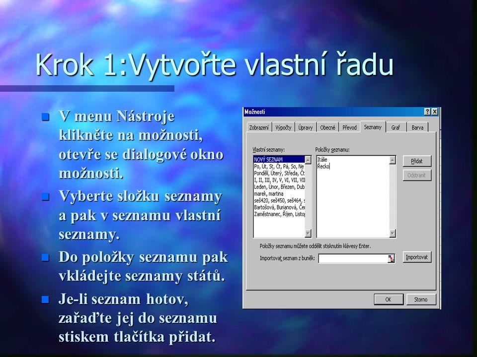 Krok 1:Vytvořte vlastní řadu n V menu Nástroje klikněte na možnosti, otevře se dialogové okno možnosti.