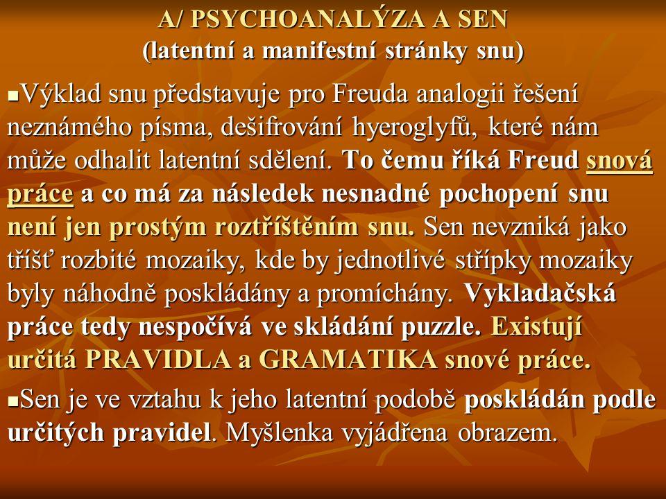 A/ PSYCHOANALÝZA A SEN (latentní a manifestní stránky snu) Výklad snu představuje pro Freuda analogii řešení neznámého písma, dešifrování hyeroglyfů,