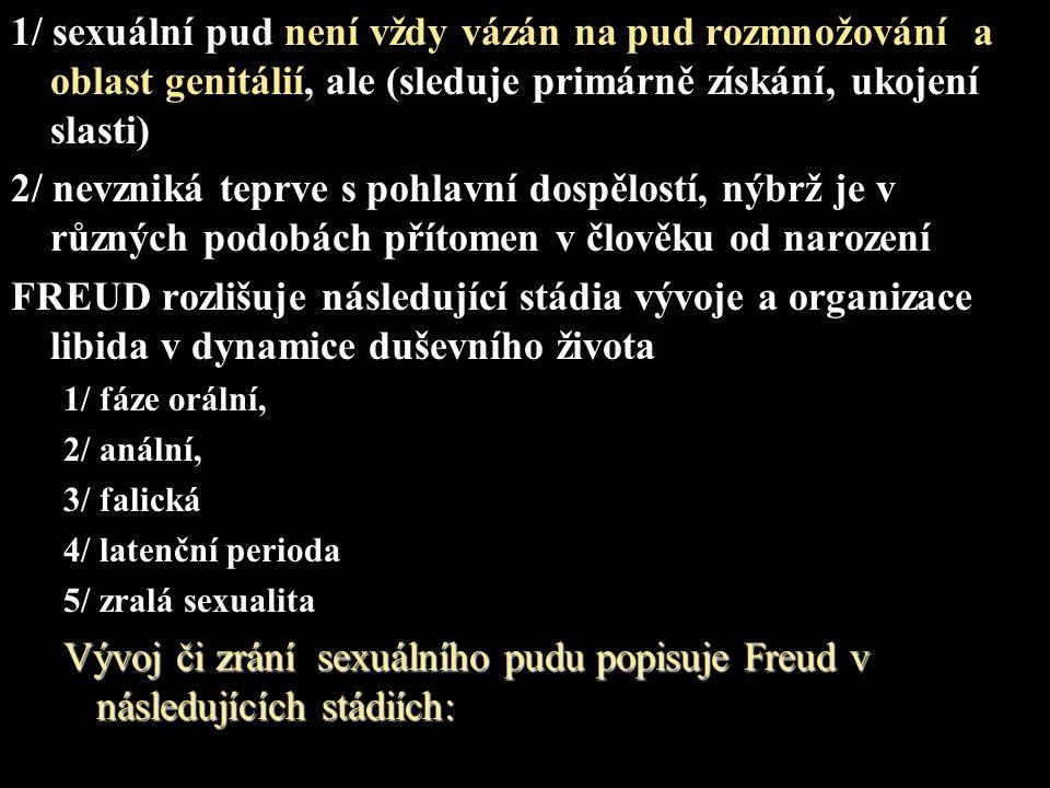 1/ první stádium libidinózního vývoje nazývá Freud orálním (orálně- kanibalistickým).