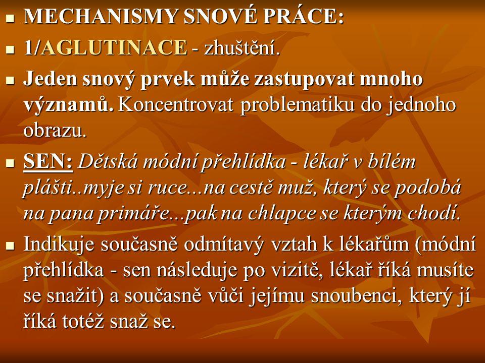 MECHANISMY SNOVÉ PRÁCE: MECHANISMY SNOVÉ PRÁCE: 1/AGLUTINACE - zhuštění. 1/AGLUTINACE - zhuštění. Jeden snový prvek může zastupovat mnoho významů. Kon
