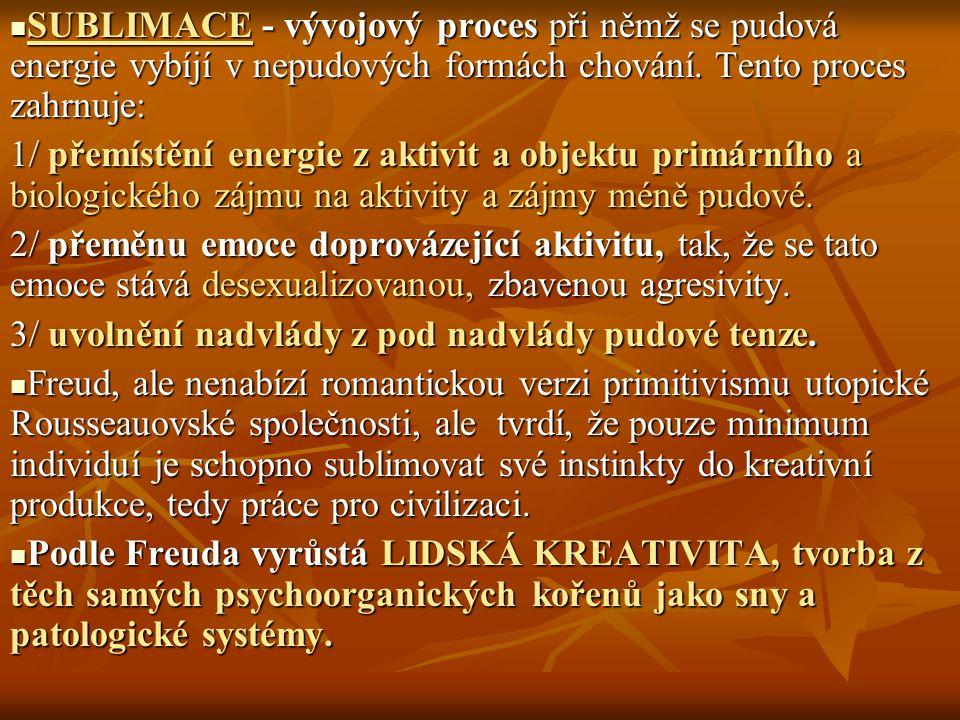 SUBLIMACE - vývojový proces při němž se pudová energie vybíjí v nepudových formách chování. Tento proces zahrnuje: SUBLIMACE - vývojový proces při něm