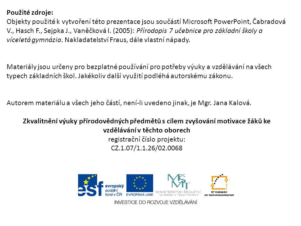 Použité zdroje: Objekty použité k vytvoření této prezentace jsou součástí Microsoft PowerPoint, Čabradová V., Hasch F., Sejpka J., Vaněčková I. (2005)