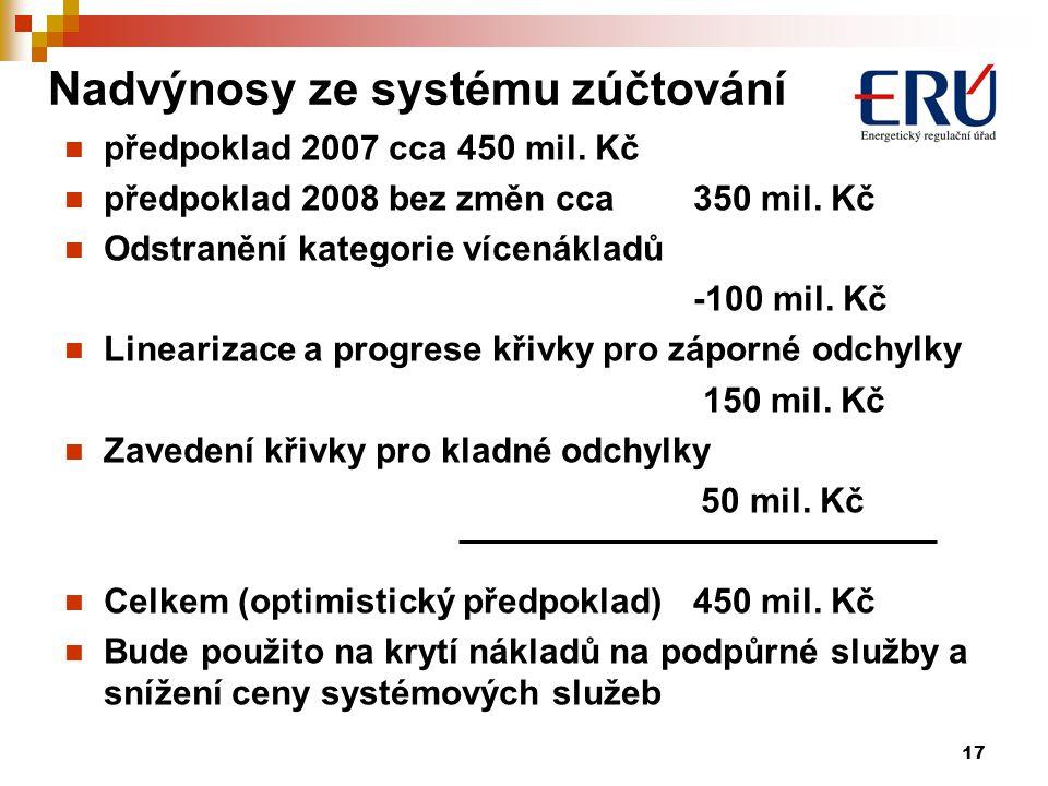 17 Nadvýnosy ze systému zúčtování předpoklad 2007 cca 450 mil.