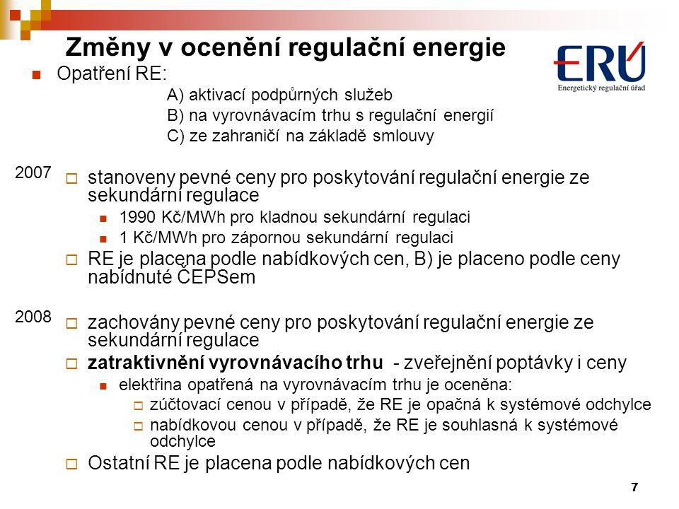 7 Opatření RE: A) aktivací podpůrných služeb B) na vyrovnávacím trhu s regulační energií C) ze zahraničí na základě smlouvy  stanoveny pevné ceny pro poskytování regulační energie ze sekundární regulace 1990 Kč/MWh pro kladnou sekundární regulaci 1 Kč/MWh pro zápornou sekundární regulaci  RE je placena podle nabídkových cen, B) je placeno podle ceny nabídnuté ČEPSem  zachovány pevné ceny pro poskytování regulační energie ze sekundární regulace  zatraktivnění vyrovnávacího trhu - zveřejnění poptávky i ceny elektřina opatřená na vyrovnávacím trhu je oceněna:  zúčtovací cenou v případě, že RE je opačná k systémové odchylce  nabídkovou cenou v případě, že RE je souhlasná k systémové odchylce  Ostatní RE je placena podle nabídkových cen Změny v ocenění regulační energie 2007 2008