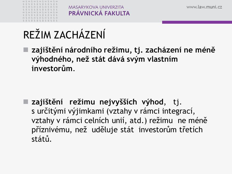 www.law.muni.cz REŽIM ZACHÁZENÍ zajištění národního režimu, tj.