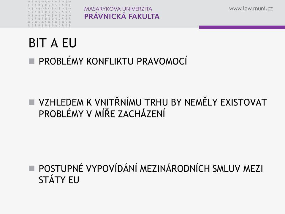 www.law.muni.cz BIT A EU PROBLÉMY KONFLIKTU PRAVOMOCÍ VZHLEDEM K VNITŘNÍMU TRHU BY NEMĚLY EXISTOVAT PROBLÉMY V MÍŘE ZACHÁZENÍ POSTUPNÉ VYPOVÍDÁNÍ MEZINÁRODNÍCH SMLUV MEZI STÁTY EU
