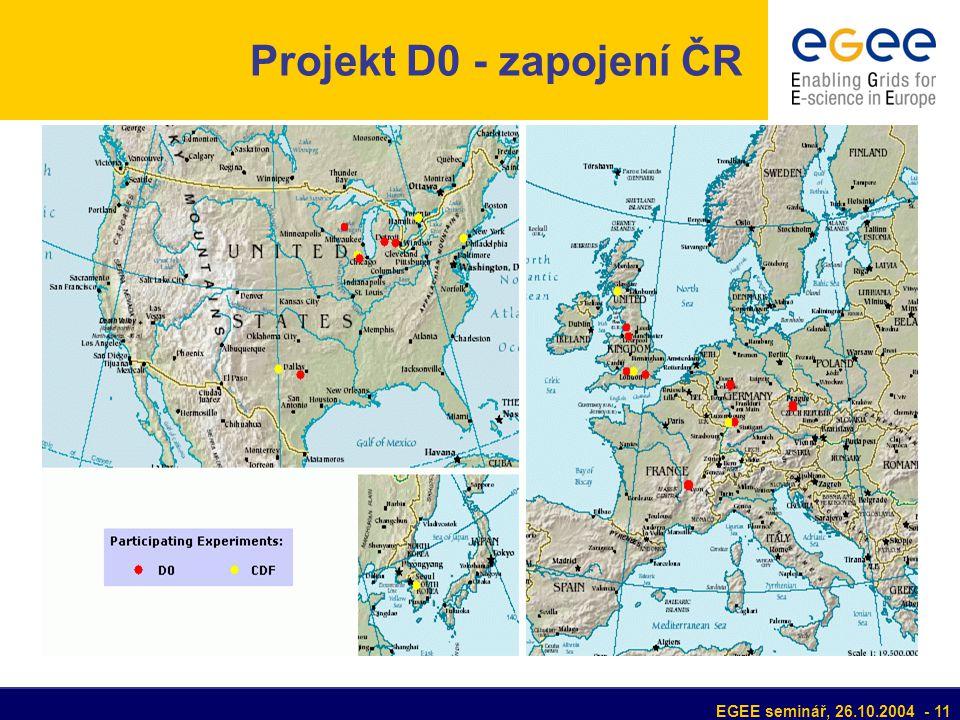 EGEE seminář, 26.10.2004 - 11 Projekt D0 - zapojení ČR