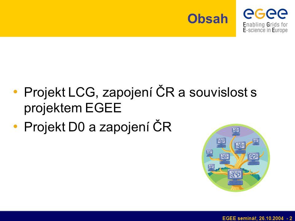EGEE seminář, 26.10.2004 - 2 Obsah Projekt LCG, zapojení ČR a souvislost s projektem EGEE Projekt D0 a zapojení ČR