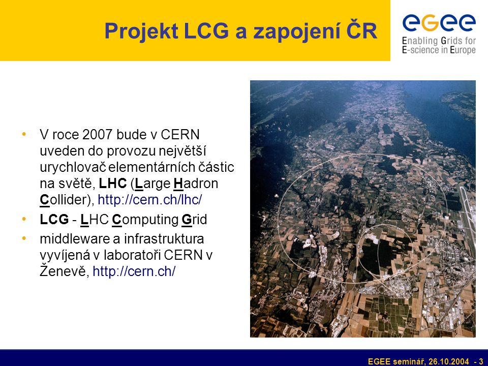 EGEE seminář, 26.10.2004 - 3 Projekt LCG a zapojení ČR V roce 2007 bude v CERN uveden do provozu největší urychlovač elementárních částic na světě, LHC (Large Hadron Collider), http://cern.ch/lhc/ LCG - LHC Computing Grid middleware a infrastruktura vyvíjená v laboratoři CERN v Ženevě, http://cern.ch/
