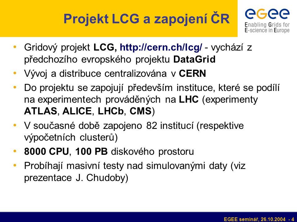 EGEE seminář, 26.10.2004 - 4 Projekt LCG a zapojení ČR Gridový projekt LCG, http://cern.ch/lcg/ - vychází z předchozího evropského projektu DataGrid Vývoj a distribuce centralizována v CERN Do projektu se zapojují především instituce, které se podílí na experimentech prováděných na LHC (experimenty ATLAS, ALICE, LHCb, CMS) V současné době zapojeno 82 institucí (respektive výpočetních clusterů) 8000 CPU, 100 PB diskového prostoru Probíhají masivní testy nad simulovanými daty (viz prezentace J.