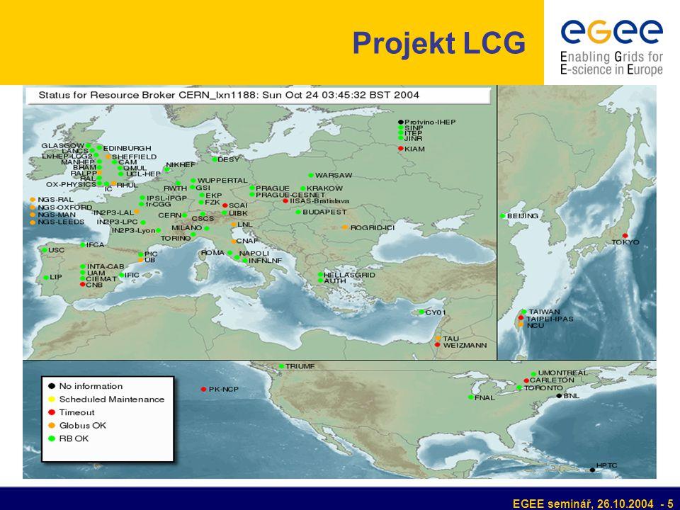 EGEE seminář, 26.10.2004 - 6 Projekt LCG