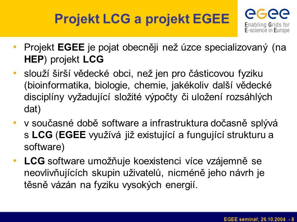 EGEE seminář, 26.10.2004 - 8 Projekt LCG a projekt EGEE Projekt EGEE je pojat obecněji než úzce specializovaný (na HEP) projekt LCG slouží širší vědecké obci, než jen pro částicovou fyziku (bioinformatika, biologie, chemie, jakékoliv další vědecké disciplíny vyžadující složité výpočty či uložení rozsáhlých dat) v současné době software a infrastruktura dočasně splývá s LCG (EGEE využívá již existující a fungující strukturu a software) LCG software umožňuje koexistenci více vzájemně se neovlivňujících skupin uživatelů, nicméně jeho návrh je těsně vázán na fyziku vysokých energií.