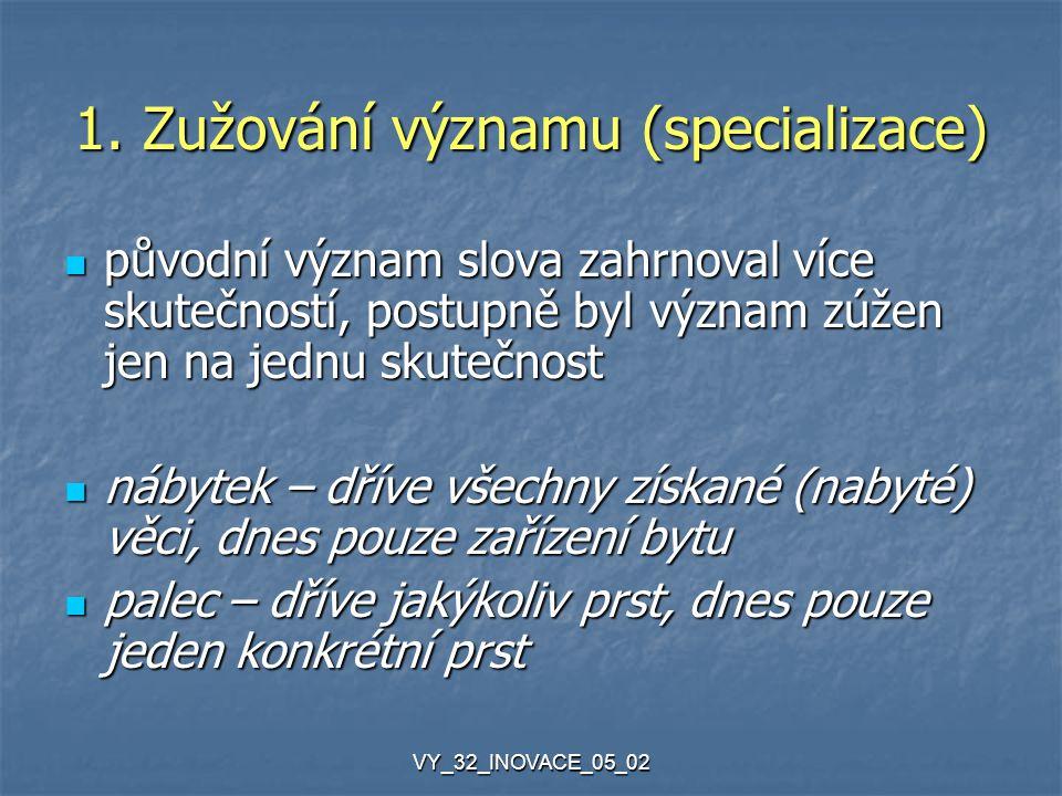 VY_32_INOVACE_05_02 1. Zužování významu (specializace) původní význam slova zahrnoval více skutečností, postupně byl význam zúžen jen na jednu skutečn