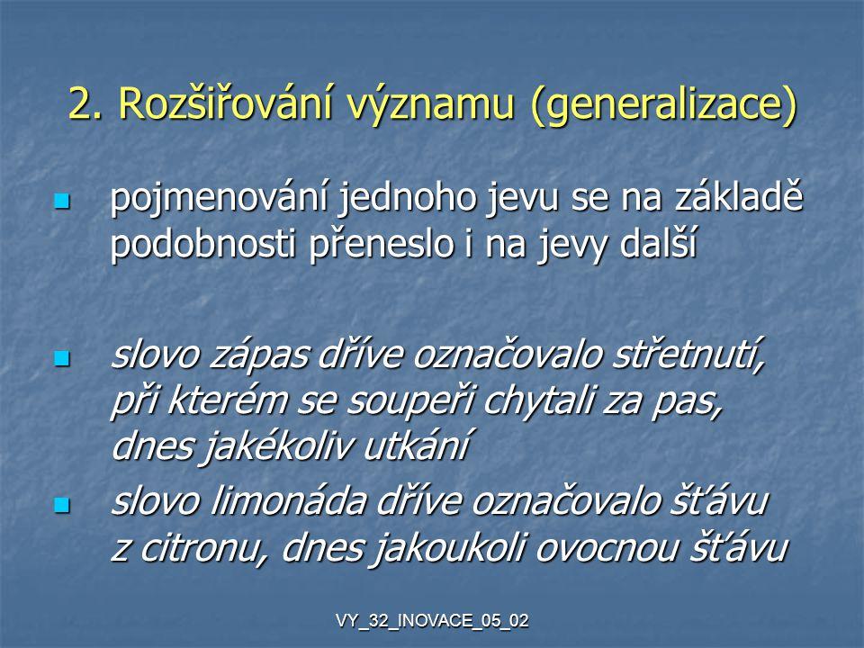 VY_32_INOVACE_05_02 2. Rozšiřování významu (generalizace) pojmenování jednoho jevu se na základě podobnosti přeneslo i na jevy další pojmenování jedno