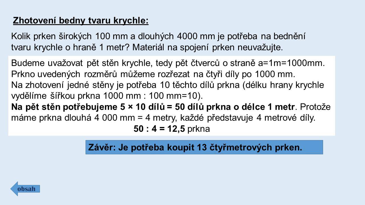 Zhotovení bedny tvaru krychle: obsah Kolik prken širokých 100 mm a dlouhých 4000 mm je potřeba na bednění tvaru krychle o hraně 1 metr.