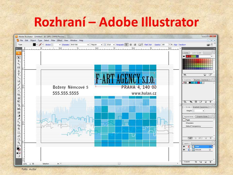 Rozhraní – Adobe Illustrator Foto: Autor