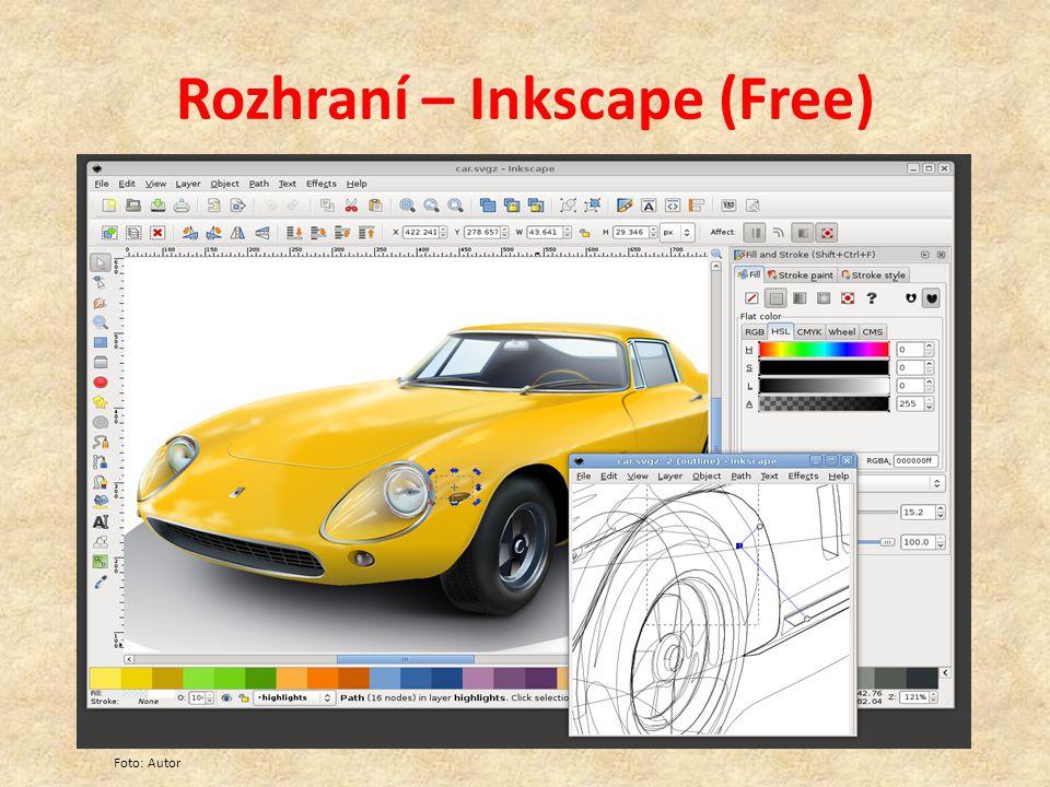 Rozhraní – Inkscape (Free) Foto: Autor
