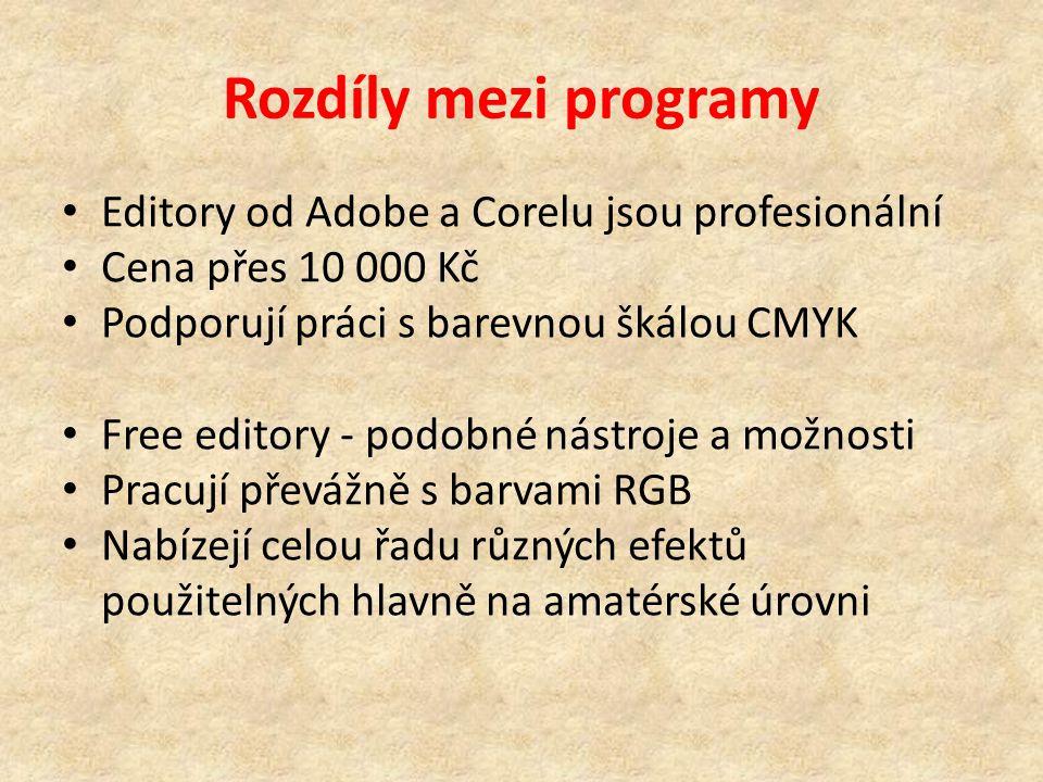 Rozdíly mezi programy Editory od Adobe a Corelu jsou profesionální Cena přes 10 000 Kč Podporují práci s barevnou škálou CMYK Free editory - podobné nástroje a možnosti Pracují převážně s barvami RGB Nabízejí celou řadu různých efektů použitelných hlavně na amatérské úrovni