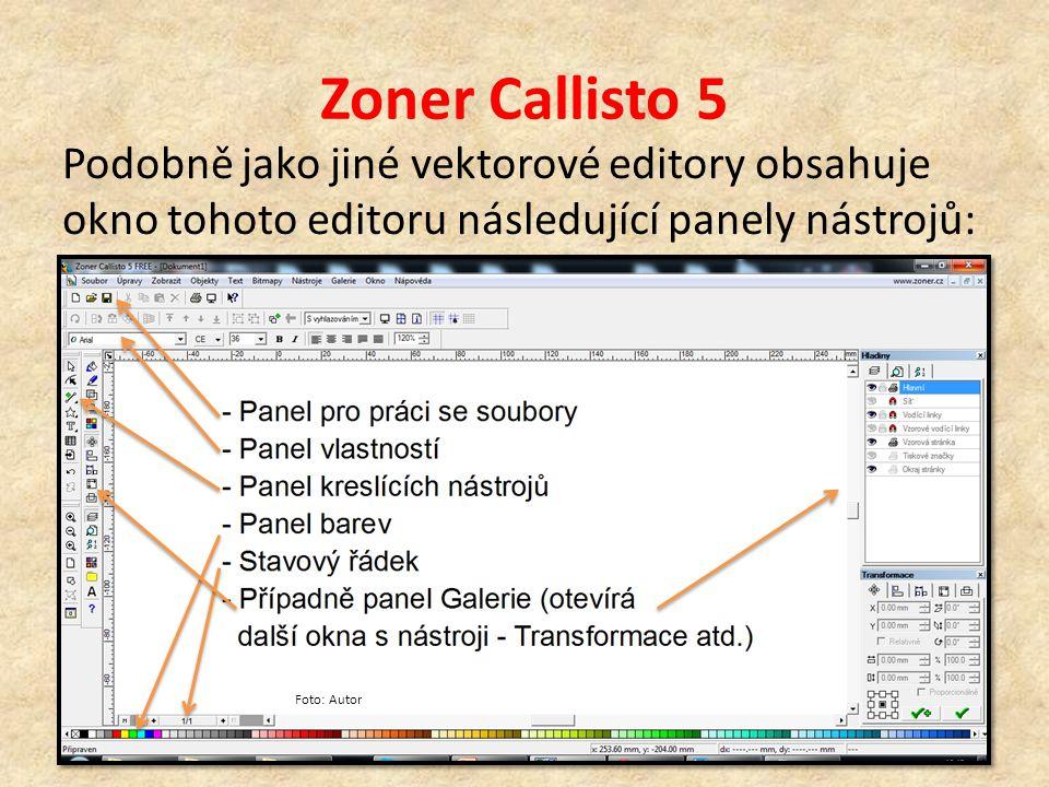 Zoner Callisto 5 Podobně jako jiné vektorové editory obsahuje okno tohoto editoru následující panely nástrojů: Foto: Autor