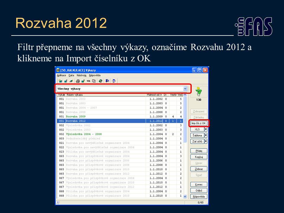 Rozvaha 2012 Filtr přepneme na všechny výkazy, označíme Rozvahu 2012 a klikneme na Import číselníku z OK