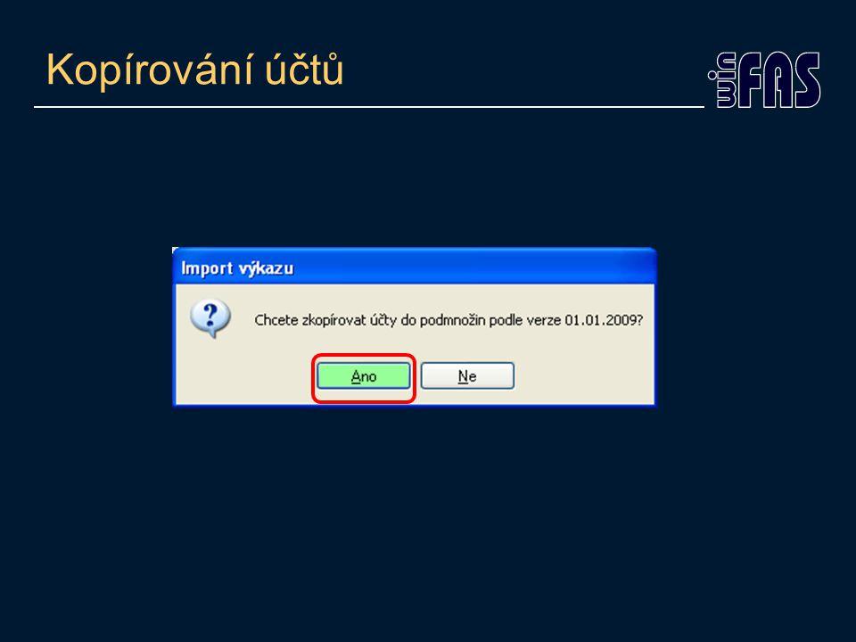Kontrola zařazení účtů