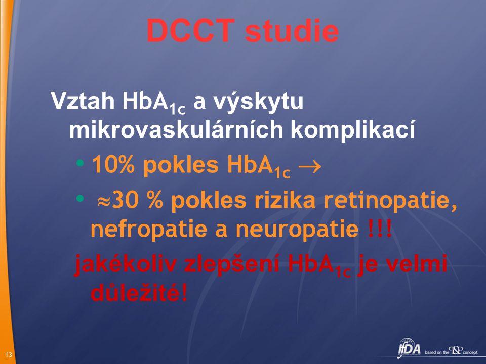 13 Vztah HbA 1c a výskytu mikrovaskulárních komplikací 10% pokles HbA 1c   30 % pokles rizika retinopat ie, ne f ropat ie a neuropat ie !!.