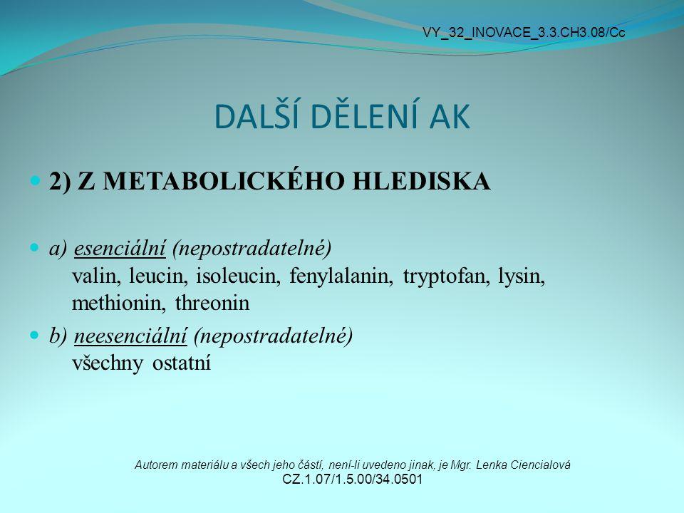 DALŠÍ DĚLENÍ AK 2) Z METABOLICKÉHO HLEDISKA a) esenciální (nepostradatelné) valin, leucin, isoleucin, fenylalanin, tryptofan, lysin, methionin, threon