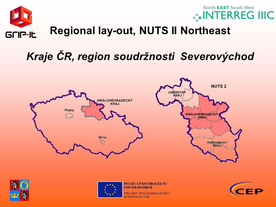 Regional lay-out, NUTS II Northeast Kraje ČR, region soudržnosti Severovýchod
