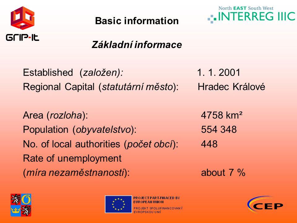 Basic information Základní informace Established (založen): 1. 1. 2001 Regional Capital (statutární město): Hradec Králové Area (rozloha):4758 km² Pop