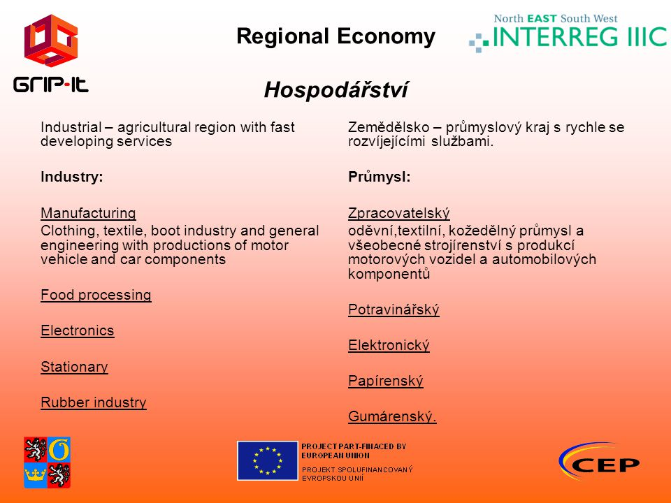 Regional Economy Hospodářství Industrial – agricultural region with fast developing services Industry: Manufacturing Clothing, textile, boot industry and general engineering with productions of motor vehicle and car components Food processing Electronics Stationary Rubber industry Zemědělsko – průmyslový kraj s rychle se rozvíjejícími službami.
