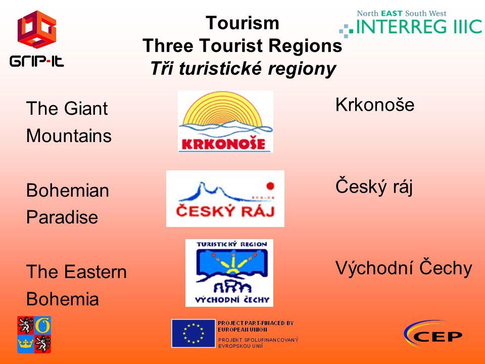 Tourism Three Tourist Regions Tři turistické regiony The Giant Mountains Bohemian Paradise The Eastern Bohemia Krkonoše Český ráj Východní Čechy