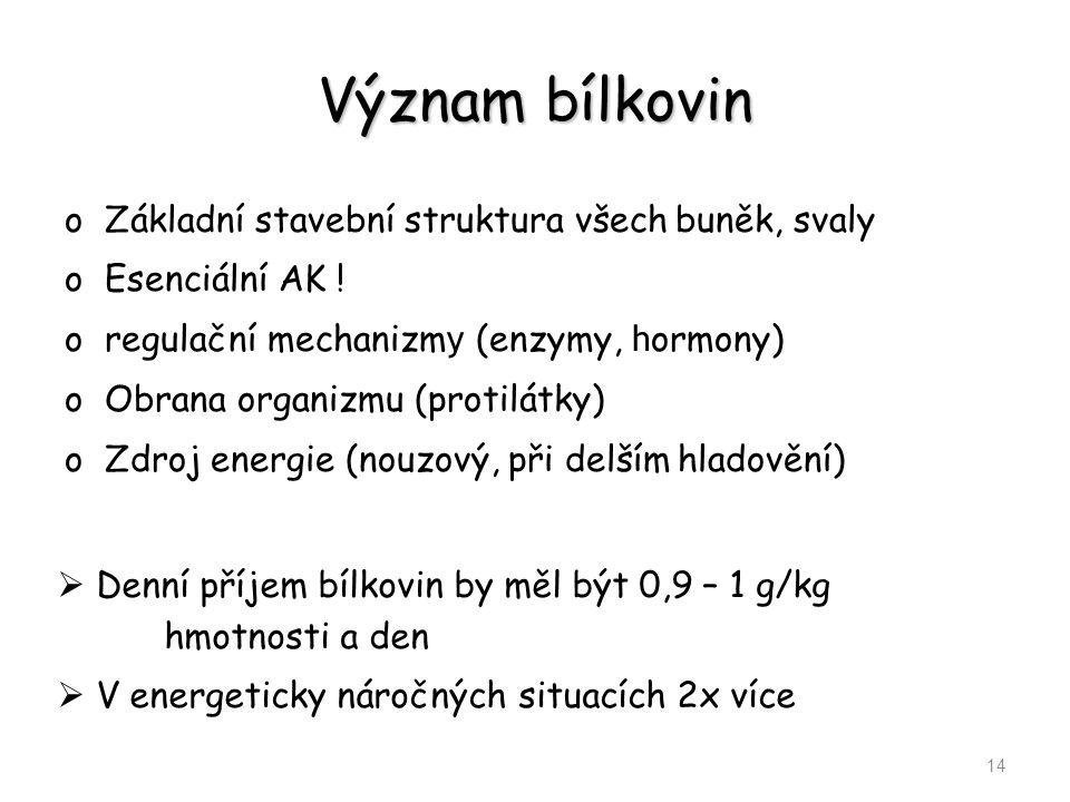 Význam bílkovin oZákladní stavební struktura všech buněk, svaly oEsenciální AK ! oregulační mechanizm y (enzymy, h ormony) oObrana organizmu (protilát