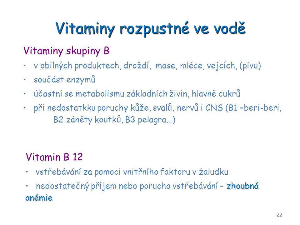 Vitaminy rozpustné ve vodě 22 Vitaminy skupiny B v obilných produktech, droždí, mase, mléce, vejcích, (pivu) součást enzymů účastní se metabolismu zák