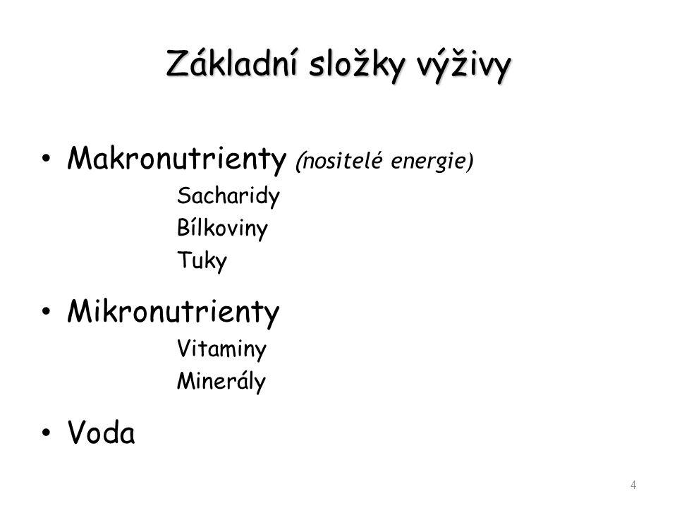 Základní složky výživy Makronutrienty ( nositelé energie) Sacharidy Bílkoviny Tuky Mikronutrienty Vitaminy Minerály Voda 4